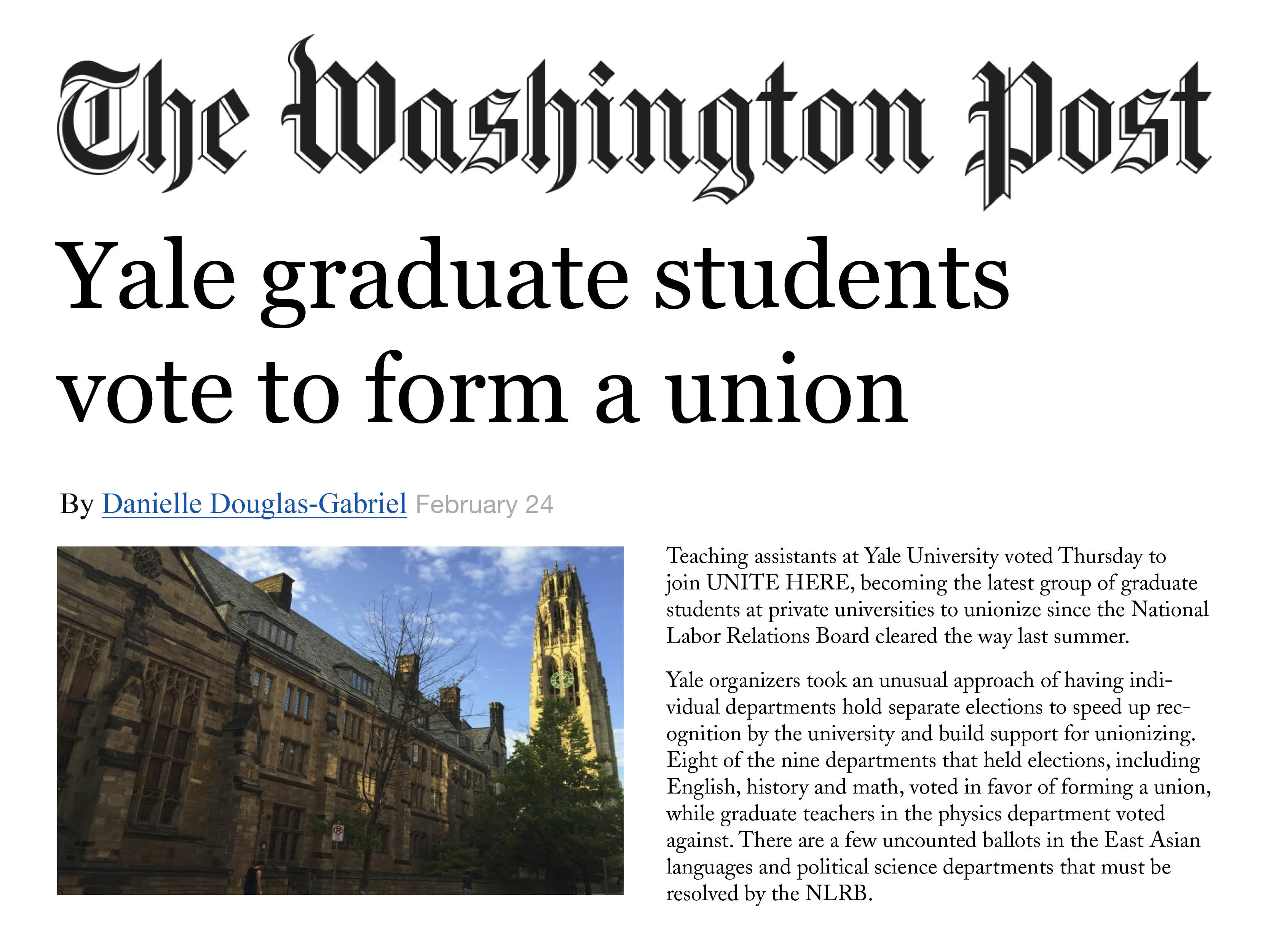 Washington Post - Yale graduate students vote to form a union